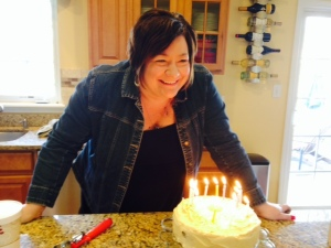 That's me blowing out the candles yesterday.